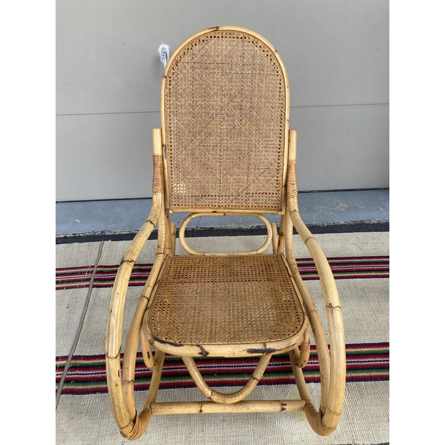 Vintage Mid Century Modern Tiki Bent Bamboo Wood Rocking Chair For Sale - Image 12 of 13