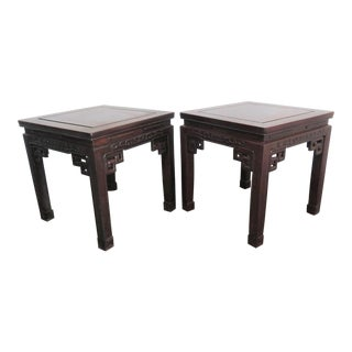 Chinese Rosewood Carved Side Tables- a Pair For Sale