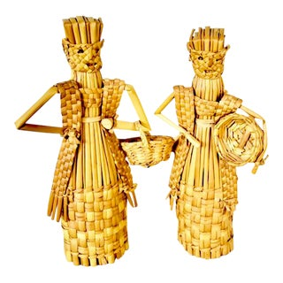 1980s Vintage Straw People Figurines- A Pair For Sale