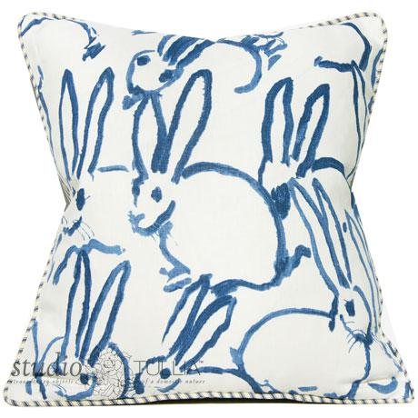Bunny Fabric Hutch Navy Print Pillow For Sale In Portland, OR - Image 6 of 6