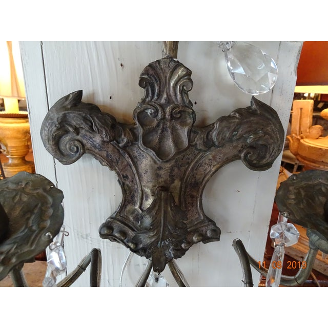 Pair of 19th Century Italian Crystal Sconces For Sale - Image 4 of 12