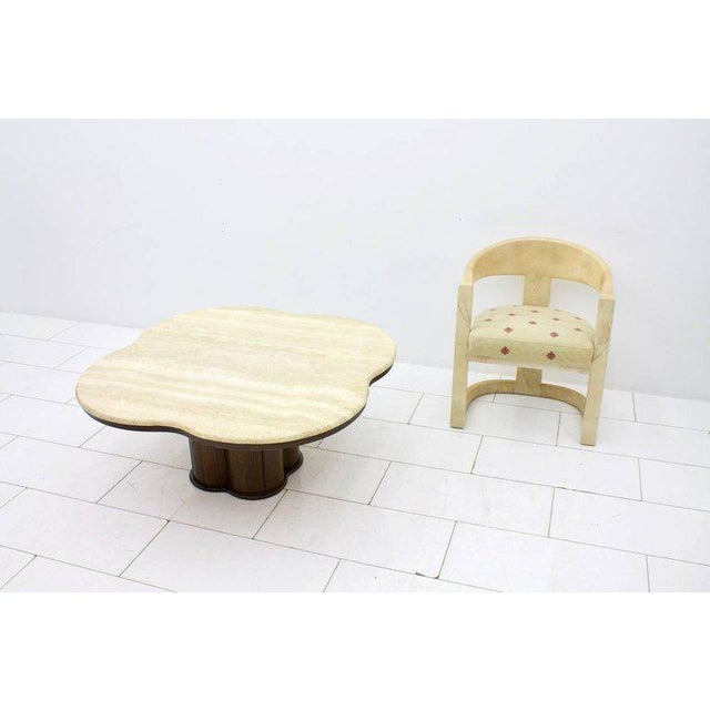 Travertine Cloud Coffee Table With Wood Base, 1970s For Sale - Image 9 of 10