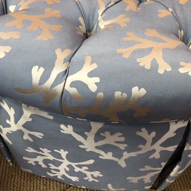 Pleasant Blue Coral Tufted Ottoman With Skirted Upholstery Beatyapartments Chair Design Images Beatyapartmentscom