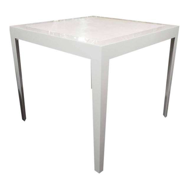 Ivory Lacquer and Water Grey Shagreen Game Table with Bone For Sale