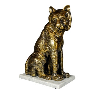 Brass Tiger Sculpture on Marble Base For Sale