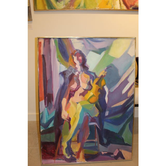 """Abstract Expressionism """"Nude With Violin"""" by Barbara Yeterian For Sale - Image 3 of 3"""