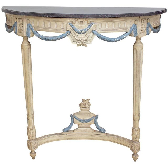 17th Century Antique French Louis XIV Period Demilune Console Table For Sale - Image 9 of 9