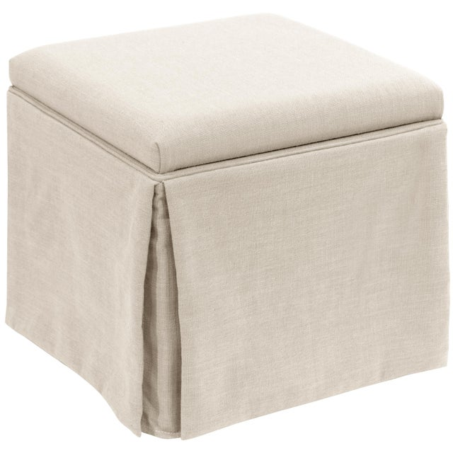 Not Yet Made - Made To Order Linen Talc Skirted Storage Ottoman For Sale - Image 5 of 7