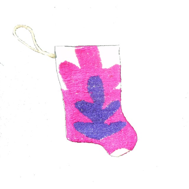 Handmade Suzani Mini Christmas Stocking Ornament - Image 2 of 4