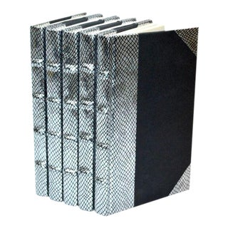 Exotic Metallic Collection Silver Books - Set of 5 For Sale