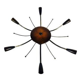 Large Midcentury Wooden 6-Arm Sputnik Chandelier, 1950s For Sale