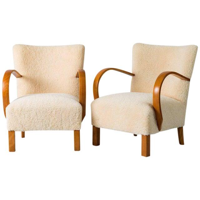 Pair of Scandinavian Sheepskin Lounge Chairs For Sale