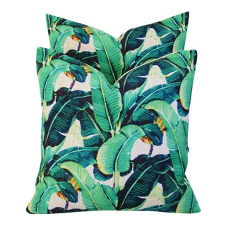 "Dorothy Draper-Style Banana Leaf Feather/Down Pillows 17"" Square - Pair For Sale"