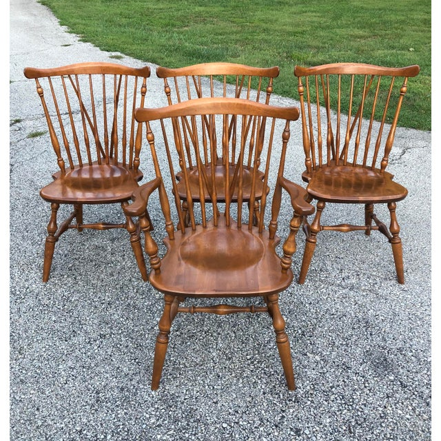 Vintage Ethan Allen Fiddleback Windsor Chairs Set Of 4