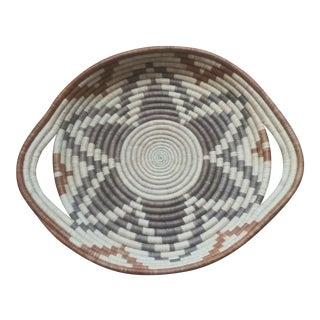Boho Woven Basket Tray For Sale