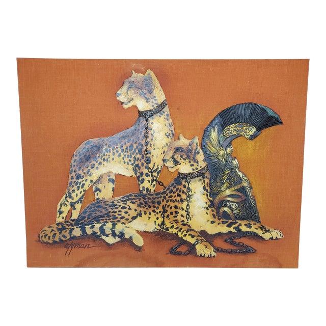 1970s Mid-Century Modern Roman Cheetah Oil Painting on Burlap Canvas by Wyman For Sale