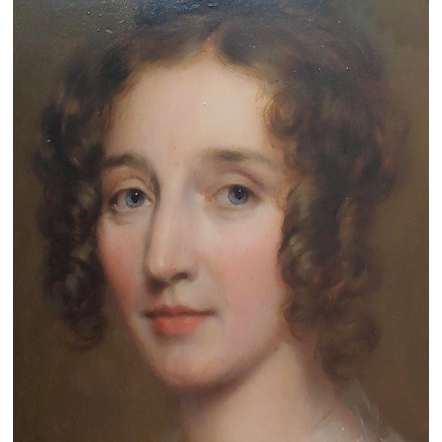 "19th Century George Healy ""Portrait of a Beautiful Aristocratic Lady"" Oil Painting, 19th Century For Sale - Image 5 of 8"