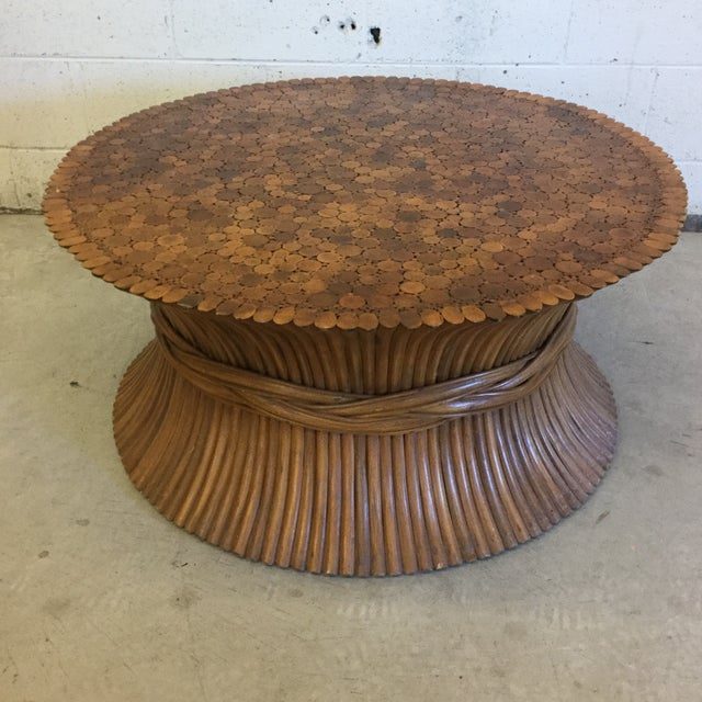 Round Sheaf of Wheat Bamboo Coffee Table by McGuire For Sale In Richmond - Image 6 of 10