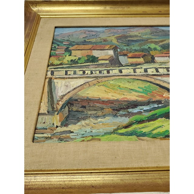 """Wood Mid 20th Century """"The Bridge Before the Mountain"""" Painting For Sale - Image 7 of 13"""