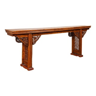 Chinese Ming Style Altar Console Table with Bird-Carved Spandrels and Fretwork For Sale