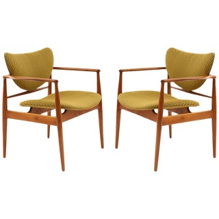Pair of Finn Juhl 48 Armchairs For Sale