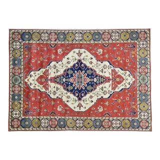Hand-Knotted Kazak Medallion Design Wool Rug- 9′10″ × 13′7″ For Sale