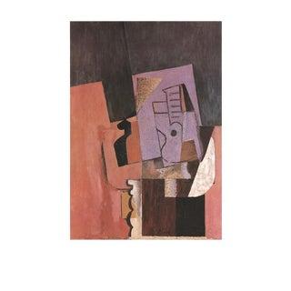 """Pablo Picasso La Guitare 35.5"""" X 27.5"""" Poster 1989 Cubism Purple, Orange, Brown For Sale"""
