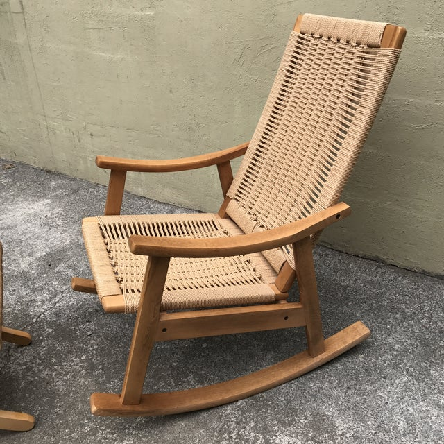 Hans Wegner Style Rocking Chair & Ottoman - A Pair - Image 7 of 11