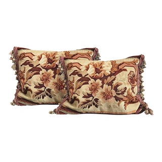Mid 20th Century Aubusson Needlepoint Pillows - a Pair For Sale