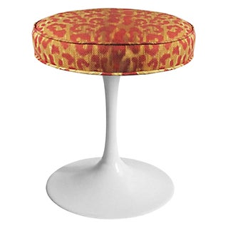 Midcentury White Tulip Base Stool With Leopard Print Upholstery For Sale