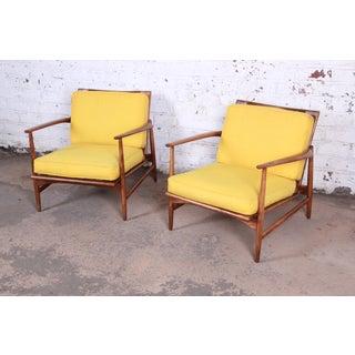 Ib Kofod-Larsen for Selig Danish Modern Sculpted Teak Lounge Chairs, Pair Preview