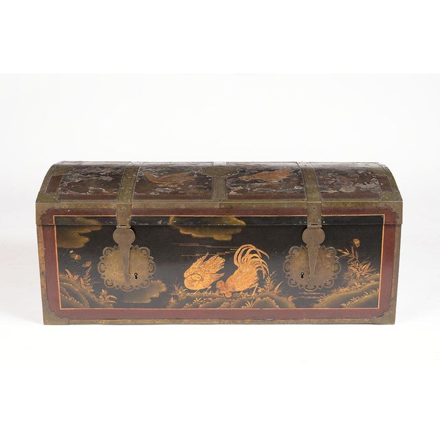 Rare Mid 19th Century Spanish Chinoiserie Trunk is in good condition and features the original hand-carved scenes...