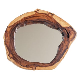 Arts and Crafts Cross-Cut Acacia Wood Mirror - Medium For Sale