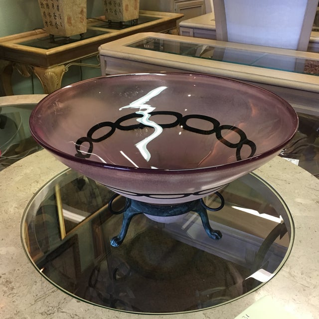 Amethyst Bowl With Metal Stand - Image 6 of 6