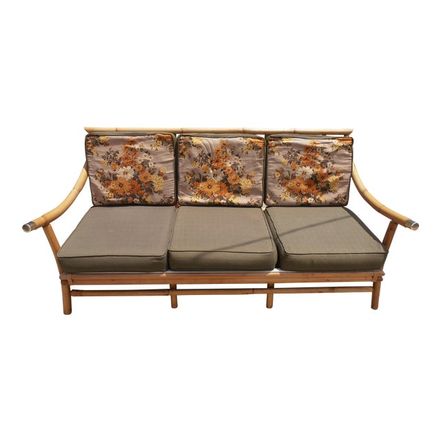 Vintage 3-Seater Bamboo Sofa For Sale