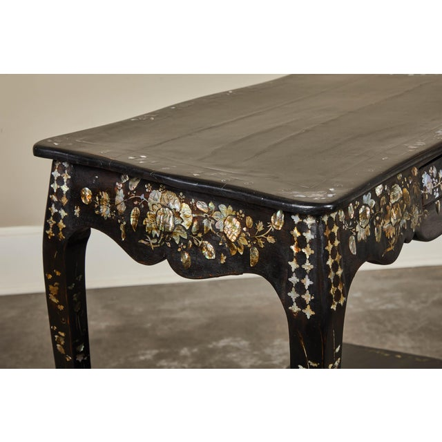 French 19th Century French Colonial Mother of Pearl Table For Sale - Image 3 of 10