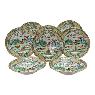 1930s Chinese Republic Period Rooster Design Porcelain Plates or Bowls - Set of 8 For Sale