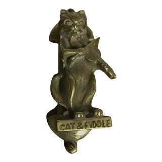 Vintage Cat & Fiddle Brass Door Knocker For Sale