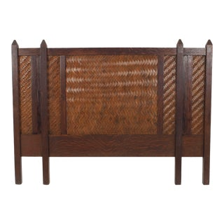 American Rustic Mission Oak Queen Headboard For Sale