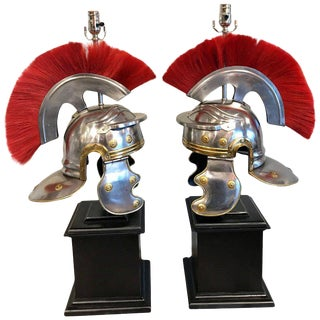 Pair of Grand Tour Style Roman Helmets, Now as Lamps