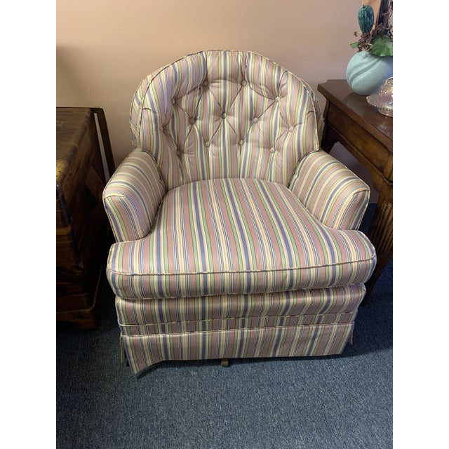 Textile Mid-Century Tufted Chintz Swivel Rocking Chair For Sale - Image 7 of 7