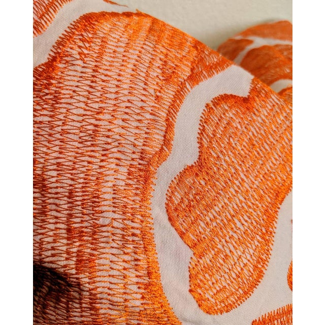 Abstract Modernist Abstract Orange Pillow For Sale - Image 3 of 4