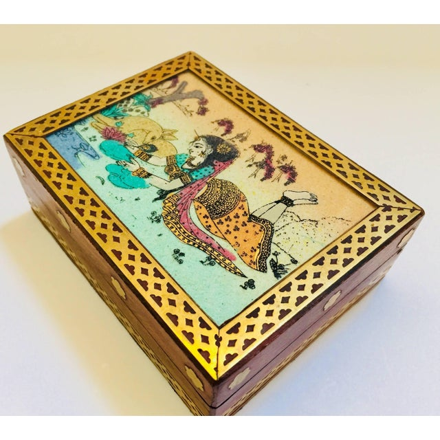 Blue Anglo-Raj Wood and Brass Box With Hand-Painted Scene For Sale - Image 8 of 10