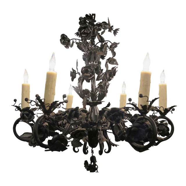 Black Rose Wrought Iron Floral Chandelier For Sale In New York - Image 6 of 7