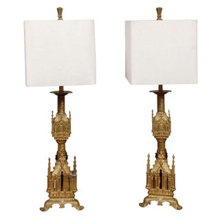 Antique Gilt Bronze Table Lamps with Shades - A Pair For Sale