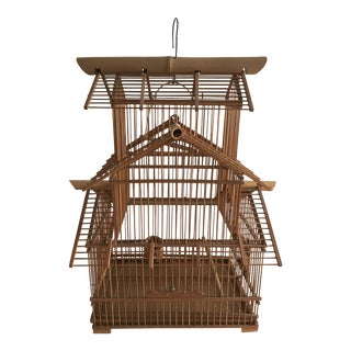 1980s Folk Art Bamboo Wooden Decorative Birdcage For Sale