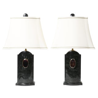 1980's vintage Maitland Smith tessellated stone lamps- A pair For Sale
