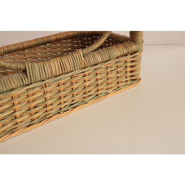 Wicker Vanity Mirror With Storage For Sale - Image 4 of 6