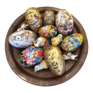 Vintage Easter Eggs in Copper Bowl For Sale