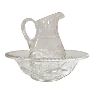 1820 American Cut Glass Wash Bowl and Pitcher - Set of 2 For Sale